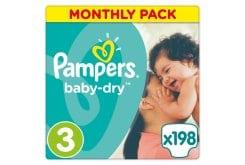 """Εικόνα του """"Pampers Baby Dry Midi No. 3 (5-9kg) Monthly Pack Βρεφικές Πάνες, 198 τμχ """""""