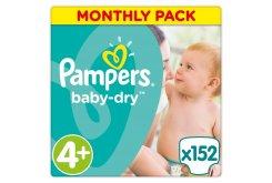 """Εικόνα του """"Pampers Baby Dry Maxi Plus No. 4 + (9-18kg) Monthly Pack ΕΚΠΤΩΤΙΚΟΣ ΚΩΔΙΚΟΣ Βρεφικές Πάνες, 152 τμχ """""""