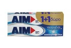 AIM White System (1+1 ΔΩΡΟ) Οδοντόκρεμα για Λευκά Δοντιά, 2 x 75 ml