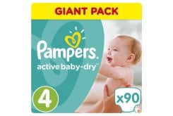 Pampers Active Baby Dry Giant Pack No.4 (Maxi) 8-14 kg Βρεφικές Πάνες, 90 τεμάχια