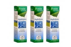 3 x Power Health Hydrolytes Συνδυασμός ηλεκτρολυτών, 3 x 20 αναβρ. δισκία