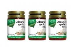 3 x Power Health Odourless Garlic 1.000mg Συμπλήρωμα Σκόρδου για την καλή υγεία του καρδιαγγειακού συστήματος, 3 x 30 caps
