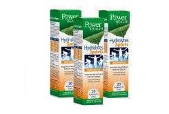 3 x Power Health Hydrolytes Sports Αναβράζων Συμπλήρωμα Διατροφής με Ηλεκτρολύτες, 3 x 20 eff. tabs