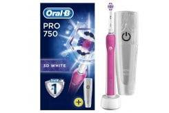 Oral B Pro 750 3D White Ηλεκτρική Οδοντόβουρτσα για Φυσικά πιο Λευκά Δόντια & Δώρο Θήκη Ταξιδιού, Ροζ Χρώμα, 1 τεμάχιο