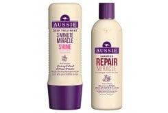 Aussie 3 Minute Miracle Shine Βαθιά Θεραπεία 3' για Θαμπά & Ξηρά Μαλλιά, 250ml & ΔΩΡΟ Aussie Miracle Shine Shampoo Σαμπουάν για Θαμπά & Ξηρά Μαλλιά, 300ml