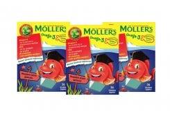 3 x Moller's Omega 3 Ζελεδάκια για Παιδιά με γεύση Φράουλα, 3 x 36gummies