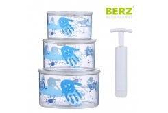 Berz Baby Vacuum Storage Σετ Μπολ αποθήκευσης σε κενό αέρος, 3 τεμάχια - Μπλε