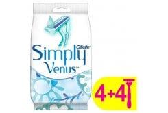 Gillette Simply Venus 2 Ξυραφάκια μιας χρήσεως με 2 λεπίδες και λιπαντική ταινία Moisture Rich, 4τμχ + 4τμχ ΔΩΡΟ