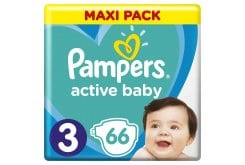 Pampers Active Baby Πάνες Maxi Pack Μέγεθος 3 (6-10 kg), 66 Πάνες