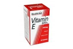 Health Aid Vitamin E 600i.u 402mg, Φυσική Βιταμίνη Ε, Βοηθά στην επιβράδυνση της γήρανσης και ελαττώνει τις κράμπες και τη μυϊκή δυσκαμψία των αθλητών, 60 caps