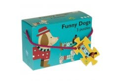 Barbo Toys Funny Dogs 3 Puzzles in 1 with 6, 9 and 12 pieces, 1 pc