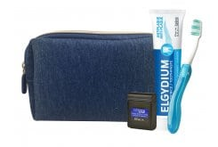 Elgydium Dental Blue Travel Kit incl. Elgydium Pocket Toothbrush,1 pc, Antiplaque Toothpaste, 50ml & Dental Floss Black, 5m