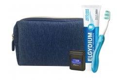 Elgydium Dental Travel Kit με Elgydium Pocket Οδοντόβουρτσα Ταξιδίου, 1 τεμάχιο, Antiplaque Οδοντόκρεμα κατά της πλάκας, 38ml & Dental Floss Black Οδοντικό Νήμα με Μαύρο Χρώμα, 5m σε μπλε τσαντάκι μεταφοράς