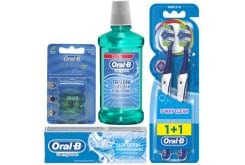 OralB Σύστημα Complete Ολοκληρωμένο Σύστημα Στοματικής Υγιεινής με Mouthwash & Whitening Οδοντόκρεμα, 75ml, Complete Clean 5 Way 40 Medium Οδοντόβουρτσα, 2 τεμάχια, Complete Στοματικό Διάλυμα, 500ml & Satin Floss Mint Οδοντικό Νήμα, 25m