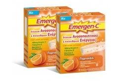 2 x Emergen C (1+1 ΔΩΡΟ) Αναβράζουσα Βιταμίνη C 1000mg με Γεύση Πορτοκάλι, 2 x 10 φακελάκια