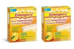 2 x Emergen C (1+1 ΔΩΡΟ) Αναβράζουσα Βιταμίνη C 1000mg με Γεύση Λεμόνι, 2 x 10 φακελάκια