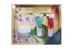 Korres Set με Almond Blossom Κρέμα Ενισχυμένης Ενυδάτωσης & Θρέψης, 40ml, Nectarine Velvet Moisturizing Mask Μάσκα Προσώπου με Νεκταρίνι για Εντατική Ενυδάτωση, 18ml & Kiwi Gentle Exfoliating Scrub Ήπιας Απολέπισης με Ακτινίδιο, 18ml