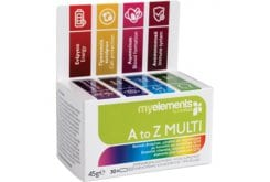 MyElements A to Z Multi Πολυβιταμίνη με 24 βιταμίνες, μέταλλα, ιχνοστοιχεία εμπλουτισμένη με συνένζυμο Q10 & λουτεΐνη, 30 caps