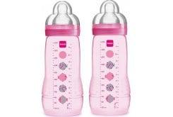 Mam Baby Bottle Μπιμπερό με θηλή Σιλικόνης 4m+, 2 x 330ml - Ροζ