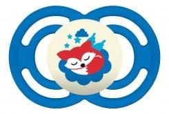 Mam Perfect Night 225S Πιπίλα Νύχτας 6+ μηνών με Θηλή-Μετάξι Σιλικόνης, 1 τεμάχιο - Μπλε