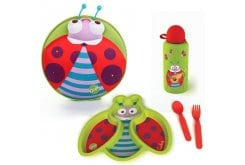 Oops Starry Meal-Set Winkling Lights Backpack with Weaning Set Ladybug, 1pc