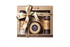 Messinian Spa Premium Gift Set  Royal Jelly & Helichrysum Σετ Βασιλικού Πολτού & Ελίχρυσου με Αφρόλουτρο με χρυσόσκονη, 300ml, Σαμπουάν για λάμψη & αναδόμηση, 300ml? & Κρέμα Χεριών & Σώματος με χρυσόσκονη, 250ml?