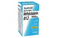 Health Aid Metcobin Methycobalamin B12 1000µg Συμπλήρωμα Μεθυλκοβαλαµίνης με γεύση φραγκοστάφυλο, 60 sublingual tabs