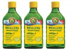 3 x Moller's Μουρουνέλαιο Natural Παραδοσιακό Μουρουνέλαιο σε Υγρή Μορφή με την Κλασσική Γεύση του Μουρουνέλαιου, 3 x 250ml