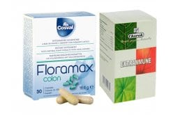 Promo Pack with Cosval Floramax Colon Probiotic Supplement for Gastrointestinal Mobility Balance, 30 caps & TOGETHER Charak Extrammune Herbal Dietary Supplement for Immune System Enhancement & Against Infections, 60 tabs