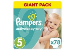 Pampers Active Baby Dry Giant Pack No.5 Junior (11-18 kg) Nappies, 78 pcs