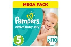 Pampers Active Baby Dry Mega Pack No.5 Junior (11-18kg) Βρεφικές Πάνες, 110 τεμάχια