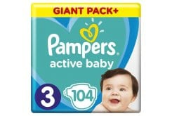 Pampers Active Baby Πάνες Giant Pack Μέγεθος 3 (6-10 kg), 104 Πάνες