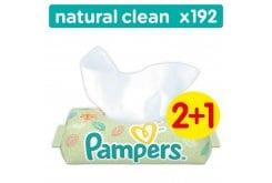 """Εικόνα του """"Pampers Natural Clean Wipes (2+1 ΔΩΡΟ) Μωρομάντηλα για την Αλλαγή Πάνας, 3 x 64 τεμάχια"""""""