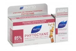 Phyto Phytocyane Traitement Θεραπεία ενάντια της Γυναικείας Τριχόπτωσης, 12 amp x 7.5ml & ΔΩΡΟ Phytophanere Συμπλήρωμα Διατροφής κατά της Τριχόπτωσης, 120caps