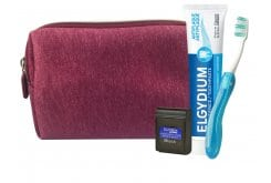 Elgydium Burgundy Dental Travel Kit incl. Elgydium Pocket Travel Toothbrush, 1 pc, Antiplaque anti-plaque Toothpaste, 50ml & Dental Floss Black, 5m