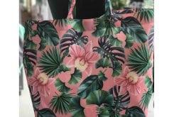 La Millou Shopper Bag Peach Hawaiian Flowers Τσάντα Θαλάσσης με εξωτικά φύλλα & άνθη (56x42cm), 1 τεμάχιο