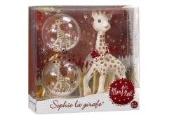 Sophie la Girafe 1st Christmas 516341 Χριστουγεννιάτικη Συσκευασία με τη Σόφι η καμηλοπάρδαλη & Χριστουγεννιάτικές Μπάλλες, 2 τεμάχια