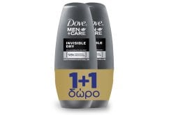 """Εικόνα του """"Dove Men+ Care Invisible Dry Roll On Αποσμητικό για Άνδρες για Λιγότερα Λευκά Σημάδια (1+1 ΔΩΡΟ), 2 x 50 ml """""""
