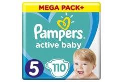 Pampers Active Baby Πάνες Mega Pack Μέγεθος 5 (11-16 kg), 110 Πάνες