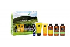 Apivita Rejuvenation Travel Kit with Gentle Daily Shampoo, 75ml, Gentle Daily Conditioner, 50ml, Tonic Mountain Tea Shower Gel, 75ml, Tonic Mountain Tea Body Lotion, 75ml, Lip care with Cocoa Butter SPF20, 4.4gr & Suncare Anti-Wrinkle SPF30, 15ml