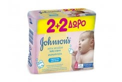 Johnson's Baby ?Extra Sensitive Wipes (2+2 ΔΩΡΟ) Μωρομάντηλα, 4 x 56 items