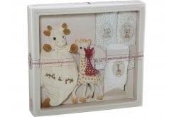 Sophie la Girafe Sophisticated Elegance Creation Composition 1 000005 Σετ Δώρου με Σόφι η καμηλοπάρδαλη, 1 τεμάχιο, πανάκι παρηγοριάς, 1 τεμάχιο & μουσελίνες, 3 τεμάχια