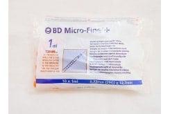 BD Micro-Fine + 12.7mm, Αποστειρωμένες Σύριγγες Ινσουλίνης 29G 10 x 1ml
