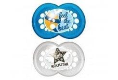 Mam Rock 'n Roll Ορθοδοντική Πιπίλα Σιλικόνης 16m+, 2 τεμάχια - Μπλε