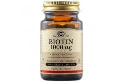 Solgar Biotin 1000μg Συμπλήρωμα Διατροφής με Βιοτίνη που Συμβάλλει στην Καλή Υγεία των Μαλλιών & του Δέρματος - Ιδανική σε Περιπτώσεις Σμηγματοροϊκής Δερματίτιδας, 50veg.caps