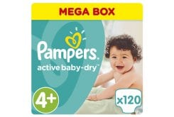 Pampers Active Baby Dry Mega Pack No.4+ Maxi+ (9-16 kg) Βρεφικές Πάνες, 120 τεμάχια