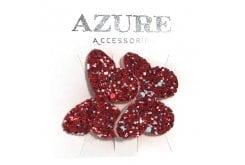 Azure Παιδικό Λαστιχάκι για Μαλλιά Πεταλούδα Glitter, 2 τεμάχια (ΜΑ-0009) - Κόκκινο