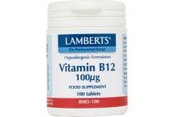 Lamberts Vitamin B12 100μg (Cobalamin), 100 tabs