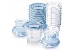 Philips AVENT SCF618/10 - Δοχεία αποθήκευσης μητρικού γάλακτος, Για εύκολη αποθήκευση & φύλαξη.Προσαρμόζεται σε όλα τα θήλαστρα & τις θηλές Avent. Χωρίς BPA, Χωρητικότητας 180 ml, 10 κύπελα + 12 καπάκια