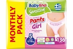 Babylino Pants Girl Junior Νο.5 (12-18 kg) Monthly Pack Απορροφητικές & Πιστοποιημένα Φιλικές Παιδικές Πάνες Βρακάκι (4 x 34), 136 τεμάχια
